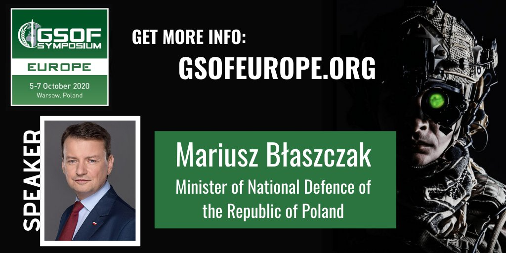 The Minister of Defence (MOD) for #Poland will be speaking at the GSOF Europe Symposium! We're honored to have him on board--register today so you don't miss out. #gsofeurope  Learn more:: https://www.gsofeurope.org/agenda?utm_ss=M7c0sDAztzQ3AAA …pic.twitter.com/uuI7rgFhj3