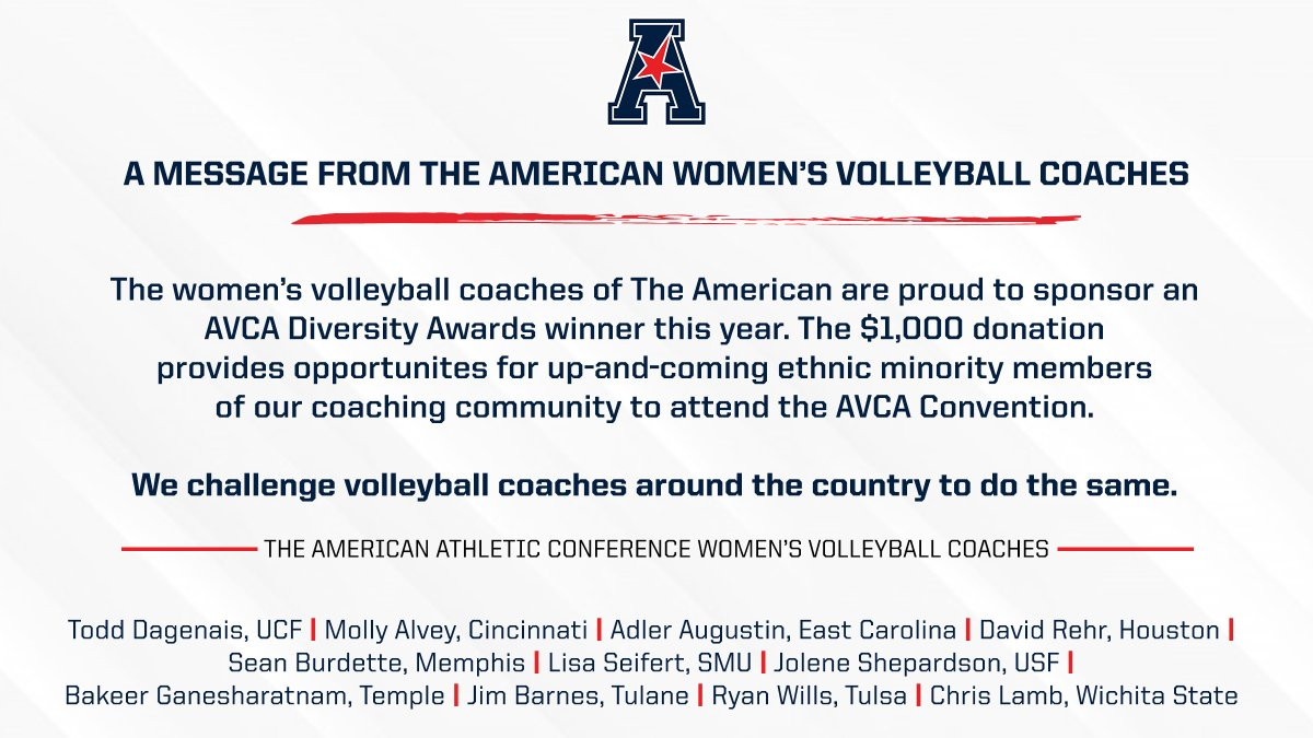 The 11 volleyball head coaches that make up the American Athletic Conference membership have combined to sponsor a diversity award candidate in conjunction with the American Volleyball Coaches Association (AVCA).  Full release → https://t.co/WdjfMbdZM6 https://t.co/GbjDbMJqW4
