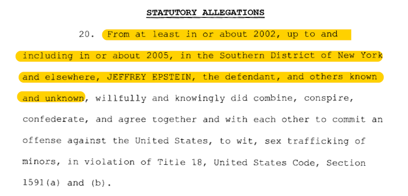 More arrests expected (timing unknown) in the Epstein sex trafficking conspiracy.  Maxwell indictment: references 1994-1997.  Epstein indictment: references a conspiracy from 2002-2005.  Epstein indictment: specifies 3 employees who facilitated abuse of minors in 2004-2005. https://t.co/zyvu2uVOBZ