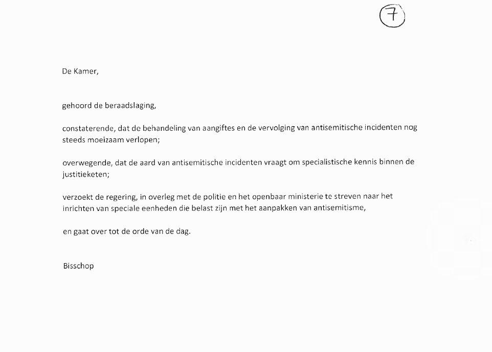 Zojuist is deze motie van @BisschopRoelof aangenomen! Vraagt om speciale politie-eenheden voor de aanpak van antisemitisme en Jodenhaat. https://t.co/0gPIYqHgPb
