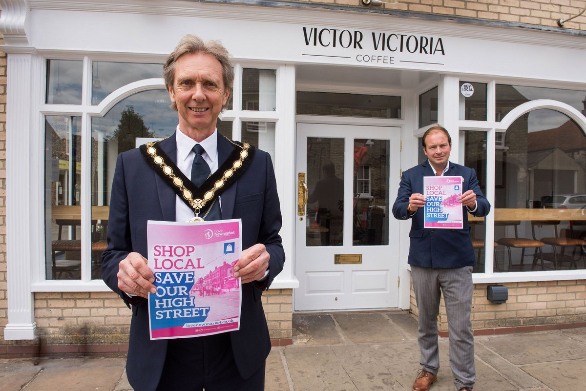 BID Manager @PaulNewmarket and new Mayor Michael Jeffreys getting ready for our 'Shop Local, Save Our High Street' initiative. The pair will be out and around Newmarket on Mon 6th July - stay tuned for coverage.  #SaveOurHighStreet #ShopLocal #NewmarketBID #LoveNewmarket<br>http://pic.twitter.com/gZYJGzfuDa
