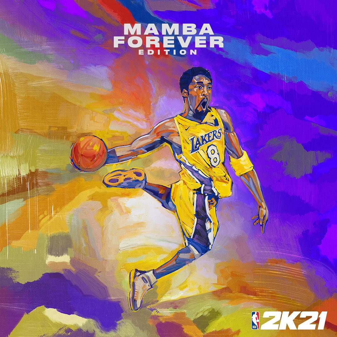 """Kobe Bryant homenageado no #NBA2K21! A lenda vai estar na capa em duas versões """"Mamba Forever"""": nas edições """"Atual Geração"""", com a camisa 8, e """"Nova Geração"""", com a camisa 24. (Via: @NBA2K) https://t.co/Utnlhu7JUw"""