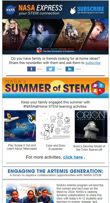 A new NASA EXPRESS newsletter is here. 🍎🚀📨 Check it out to find NASA Summer of STEM activities, student challenges, details on a forum about engaging the Artemis Generation, webinars for teachers & parents, and more. Read & subscribe at conta.cc/31Cg7ey.