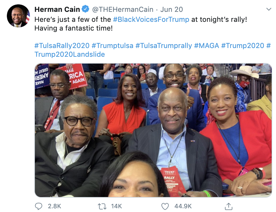 Herman Cain, who is 74, attended Trump's Tulsa rally as a surrogate for the Trump campaign  Here's a photo he posted inside with no mask https://t.co/ZOrvWU4m0X https://t.co/rjcbd4zqga