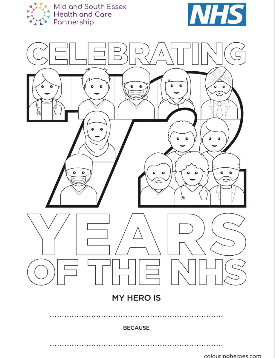 NHS 72nd birthday 🎂   Show your appreciation for everyone who works in the NHS  We love these downloadable colouring sheets from @ColouringHeroes   Colour them in, display them on your window and share your photos with us to say #thankyouNHS  Download https://t.co/VFHdpQRuON https://t.co/TjIlKCm1Js