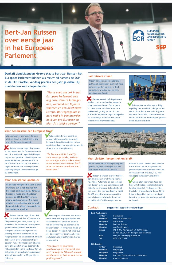 Vandaag mag ik precies 1 jaar lid zijn van het Europees Parlement, namens de SGP. Wat heb ik gedaan in mijn eerste jaar? Hier een overzicht: https://t.co/NVu9OJYEk0