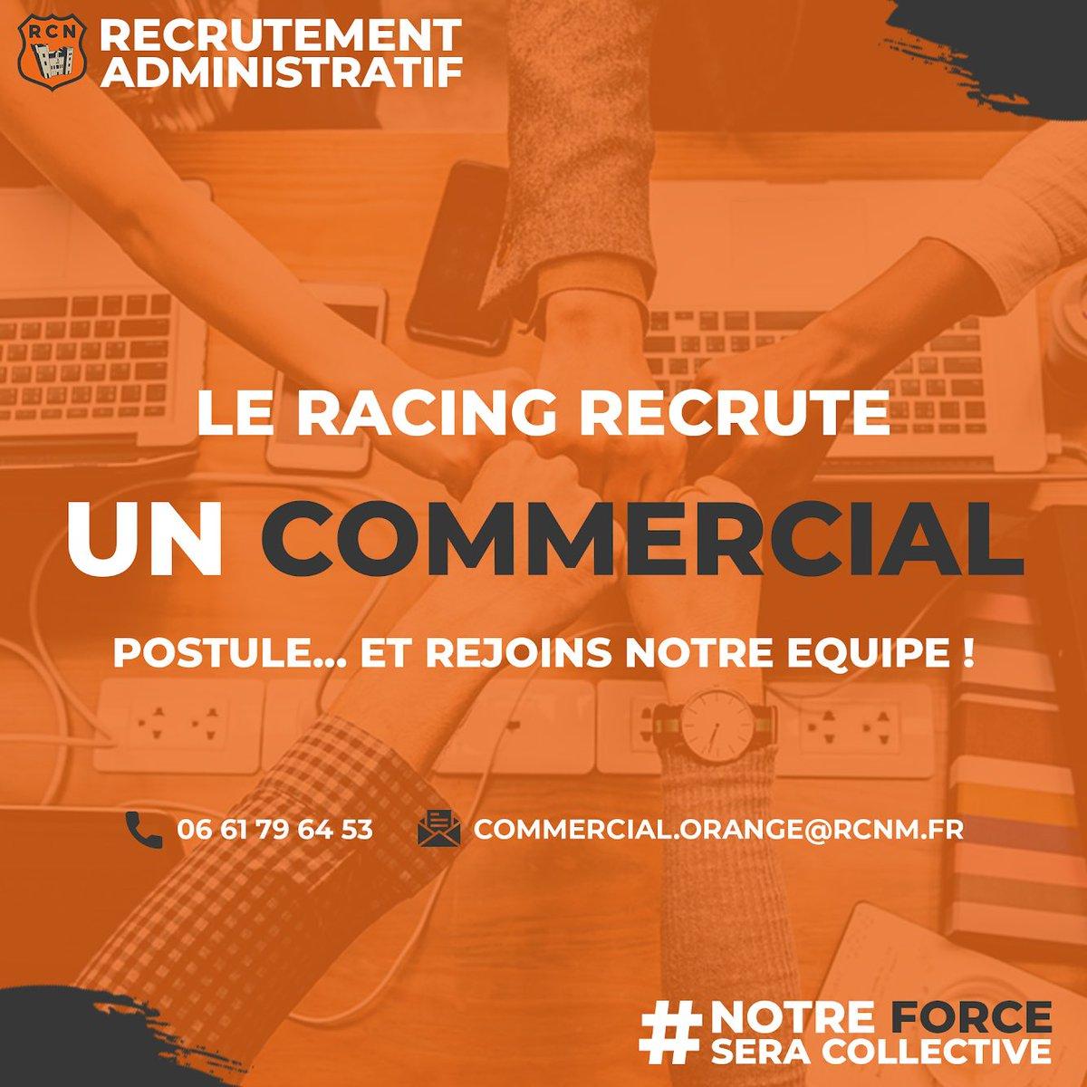 Le Racing recrute un commercial salarié !   Veuillez nous envoyer votre CV à...