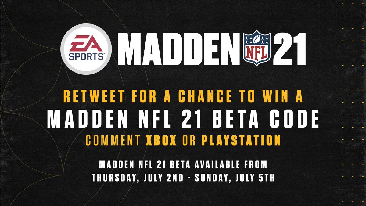 We have #Madden21 Beta codes!  If you want a chance to win one: 🔘 Retweet this 🔘 Tell us which console you use 🔘 Check your DMs https://t.co/KSVTO36q0K