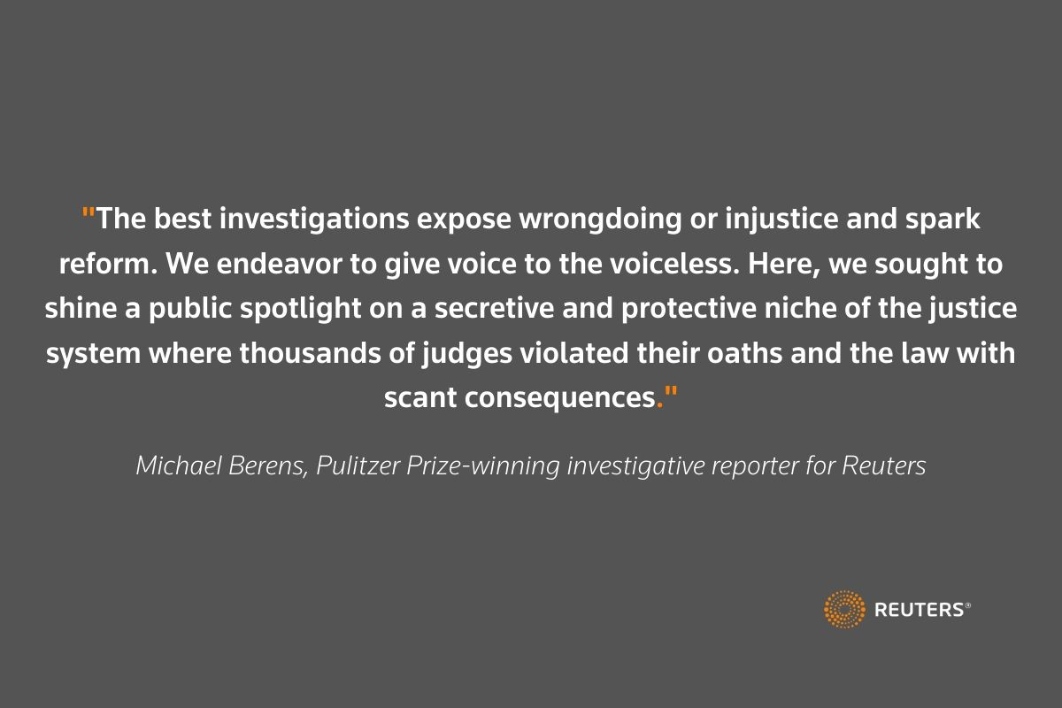 Inside the @Reuters year-long investigation into judicial misconduct across the U.S. by @MJBerens1 @johnshiffman @andreajanuta @carriecmonahan @Isabella_Jib https://t.co/BdYPnCZc47 https://t.co/GCueNZQDMd