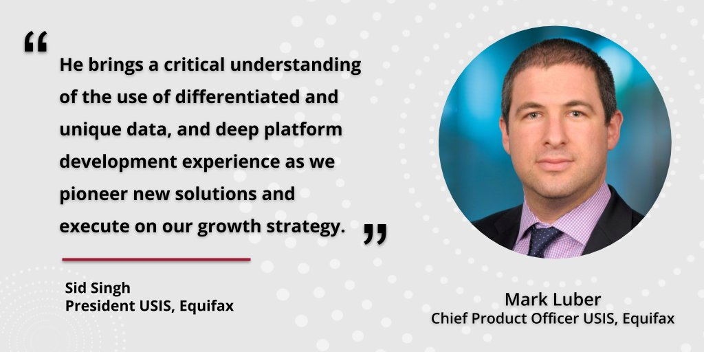 Join us in welcoming our new Chief Product Officer for United States Information Solutions (USIS), Mark Luber. https://t.co/zoRVxZj2Wq https://t.co/fcVUHtCl2M