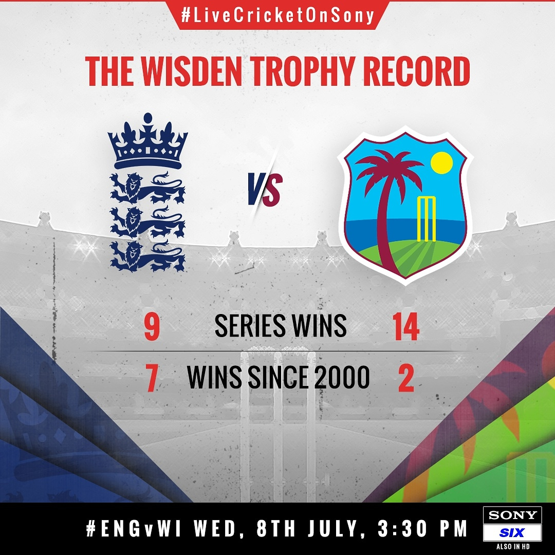 Will England better their record?  Or West Indies defend the trophy?   Find out as LIVE cricket returns on Sony SIX  with #ENGvWI starting, July 8   #CricketWithouBoundaries #Cricket #WIvENG #ILoveLiveCricket #LiveCricketOnSony #SonySports #Sports #WisdenTrophy<br>http://pic.twitter.com/6gw0nIJGda