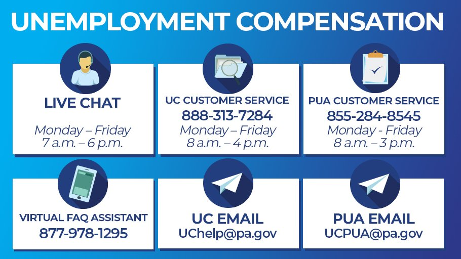 The BEST days to call our team are Thursdays + Fridays!   ☎️ UC Virtual Assistant: 877-978-1295 ☎️ UC Service Centers: 888-313-7284 ☎️ PUA Service Center: 855-284-8545 👩💻 LiveChat: https://t.co/CuAXvnQe0K ℹ️ More: https://t.co/jGafGYGVC6 https://t.co/rLKUMvDsA5