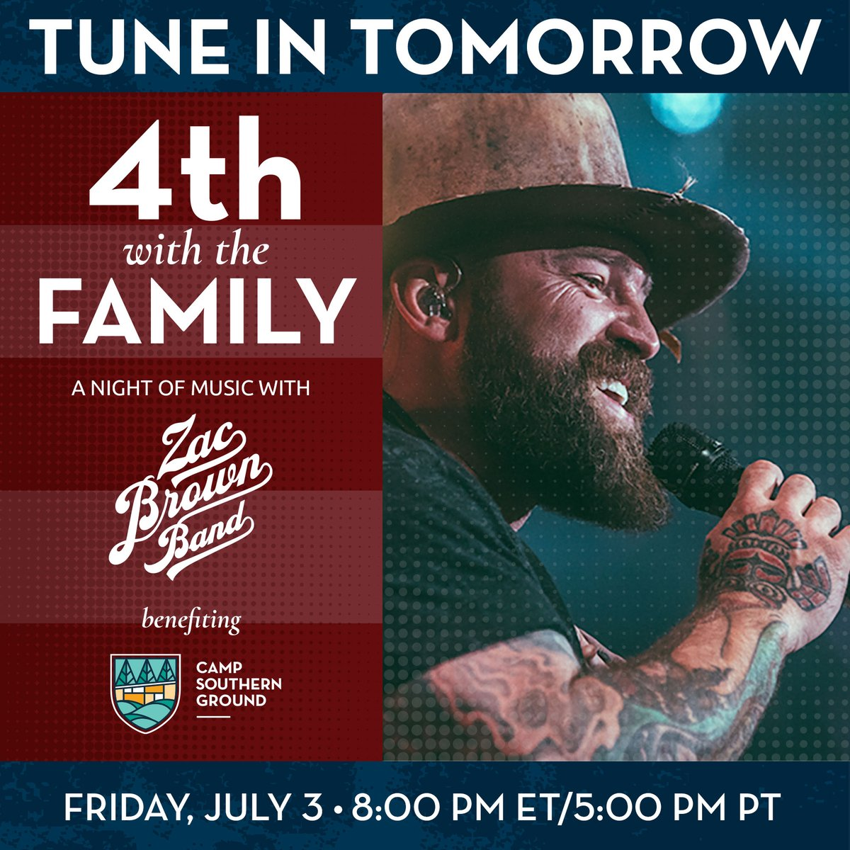 Tune in tomorrow as we kick off Independence Day weekend with @zacbrownband to support the mental health and wellbeing of our nation's heroes through @campsoutherngrd. #4thwiththefamily #warriorwellbeing  RSVP: https://t.co/YFOEBV6oyF DONATE: https://t.co/y46vcopWWk https://t.co/9LGnYeHKXP
