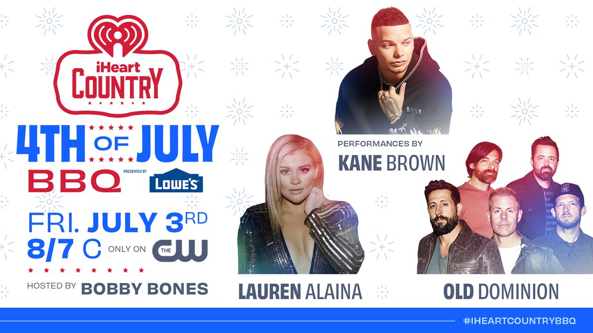 Tomorrow night at 8/7c, turn on the grill and tune in to our iHeartCountry 4th of July BBQ on the CW. Join us and our host Bobby Bones in celebrating the Fourth with performances from Kane Brown, Old Dominion & Lauren Alaina! ❤️🤍💙 #iHeartCountryBBQ https://t.co/IMZVGhHGiD