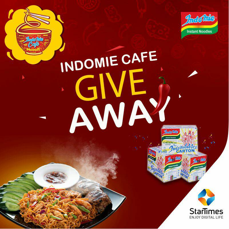 Giveaway Time!  Indomie (indomiecafe) in partnership with StarTimes are giving out cartons of Indomie to some lucky customers this July. Visit StarTimes Lagos HQ to recharge and stand a chance to win a carton of Indomie instant noodles.  Offer valid while stock lasts https://t.co/lyGdy2Tewu