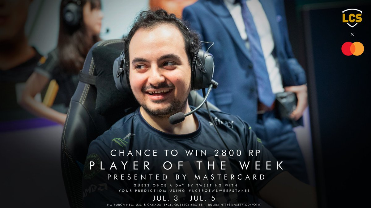 Don't miss out on your chance to win 2800 RP. Simply tweet us your Week 4 #LCS POTW prediction using #LCSPOTWsweepstakes. You have until the end of today's final game! No Purch Nec. U.S./Canada (excl. Quebec) res. 18+. Rules: mstr.cd/POTW