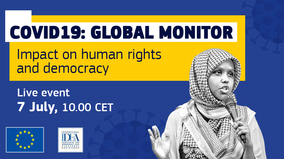 ✋#COVID19 should never be an excuse to restrict fundamental freedoms. W/ @Int_IDEA we launch the #globalmonitor - a platform gathering info on the impact of the pandemic on human rights. 📢Join us! Live event - 7th of July - 10:00 CET ➡️europa.eu/!Bh97RM