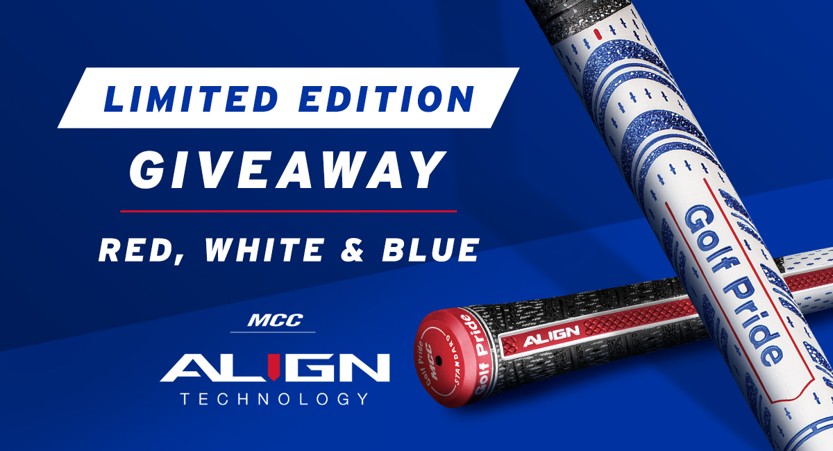 GIVEAWAY // Heres your chance to win a set of Limited Edition Red, White & Blue MCC ALIGN grips! 🔴⚪️🔵 RT & Follow @golfpridegrips to enter & well pick a winner next week. RULES ➡️ bit.ly/2YQoxx7