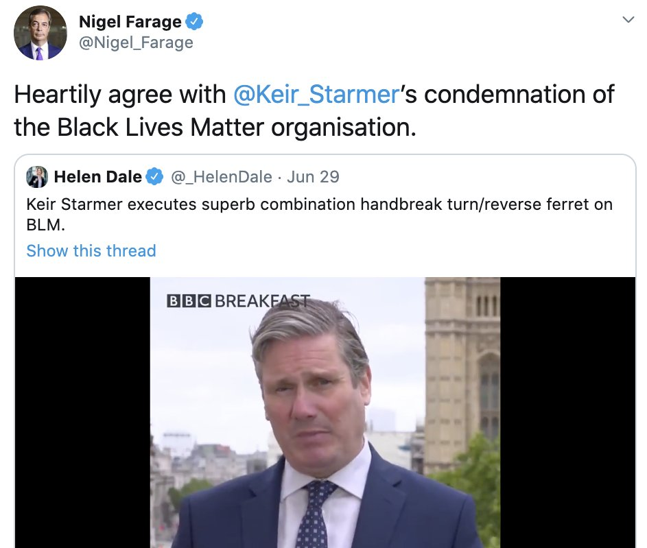NEW: @UKLabour leader @Keir_Starmer tells @HuffPostUK that he is not courting the racist vote following controversial BBC interview which saw endorsement from far-right figure @Nigel_Farage. He added, twice, that he and Farage have absolutely nothing in common.