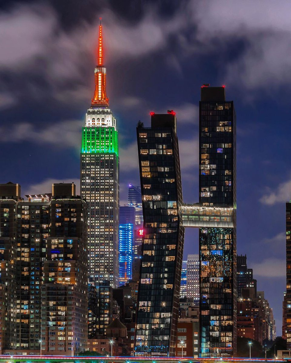 Throwing it back to when our tower lit in orange, white & green for India Day! #TBT 📷: @nyclovesnyc