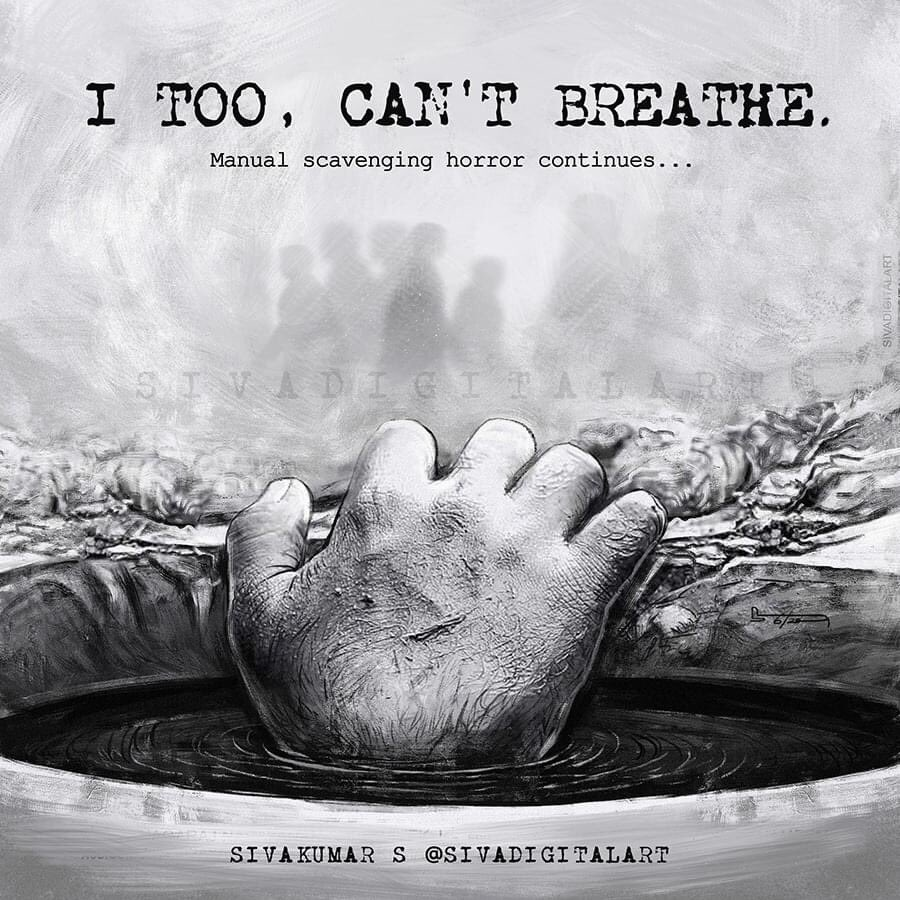 I Too,  can't breath  Manual scavenging horror continues... #TamilNadu: Four people have died in #Tuticorin while cleaning a septic tank. The tragedy took place at Chekkarakudi village. All of them died after inhaling poisonous fumes & suffered from asphyxiation. #ICantBreathe https://t.co/rGjzUgH9oh