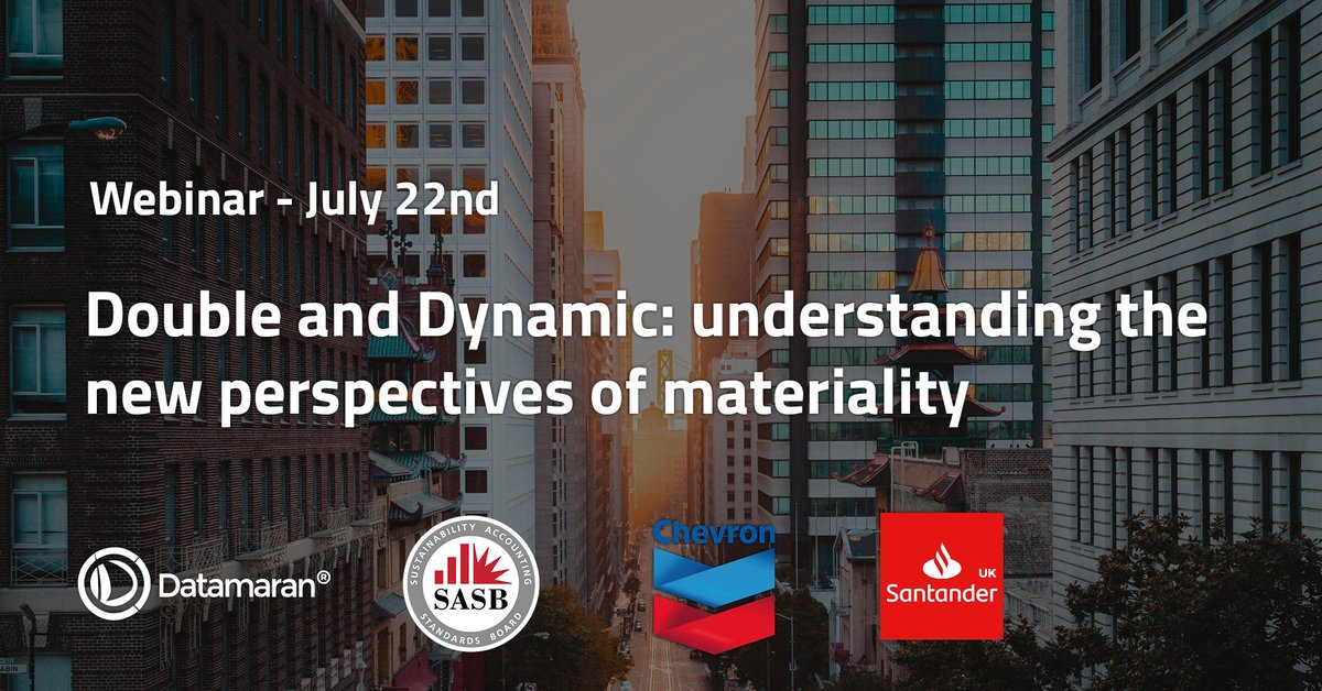 Emerging and evolving policies are prompting markets to consider new perspectives on #materiality: dynamic and double. Join @SASB, @Chevron, and @santanderuk in a live webinar to understand what are the practical implications for companies and #investors: hubs.ly/H0s5CV70