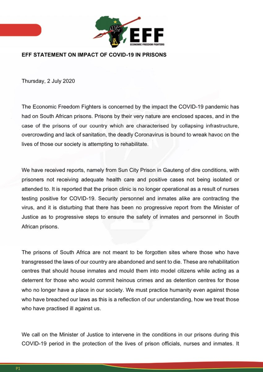 EFF Statement on Impact of COVID-19 in Prisons