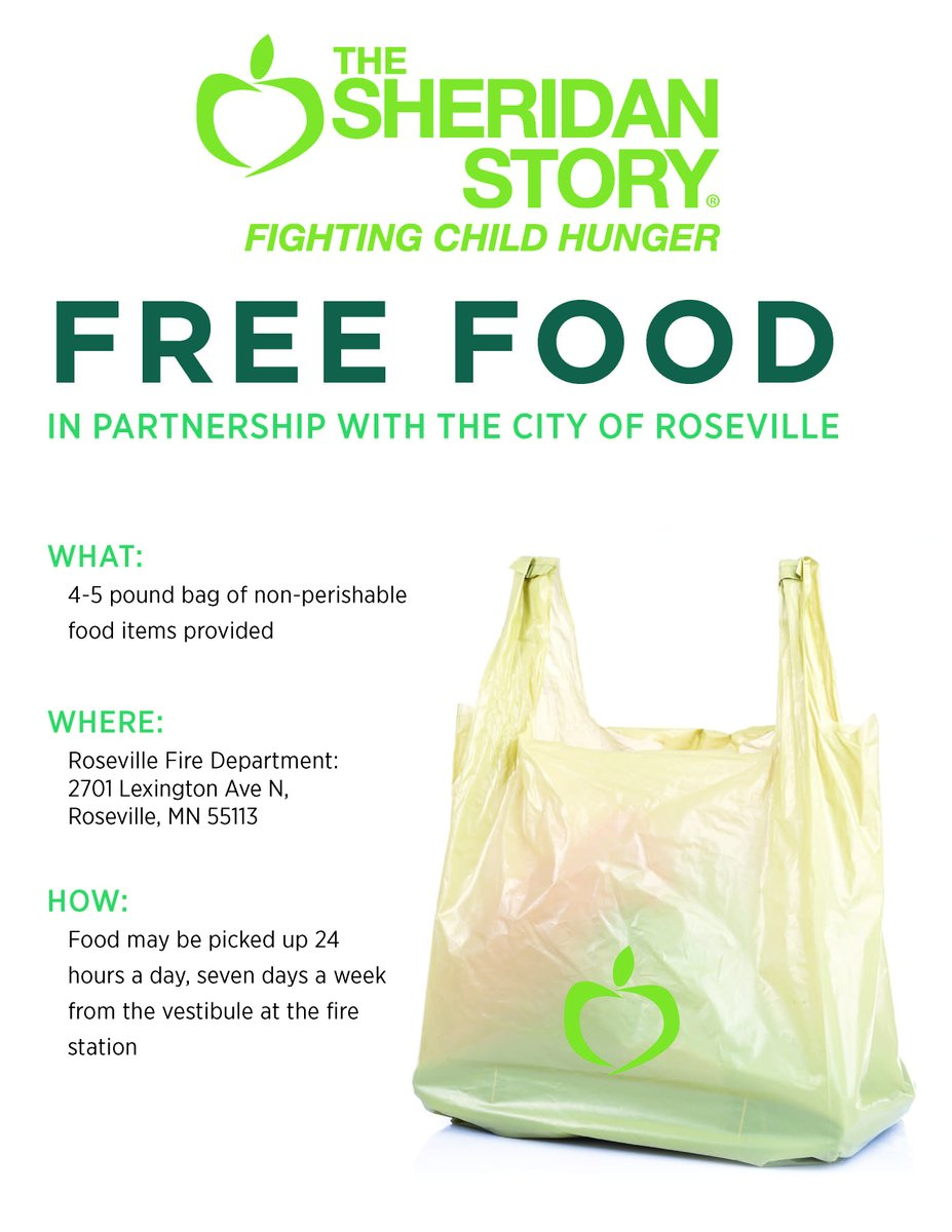 @RosevilleMN_FD partners with @SheridanStory to offer free food to anyone in need. Open 24/7 stop in & take what you need