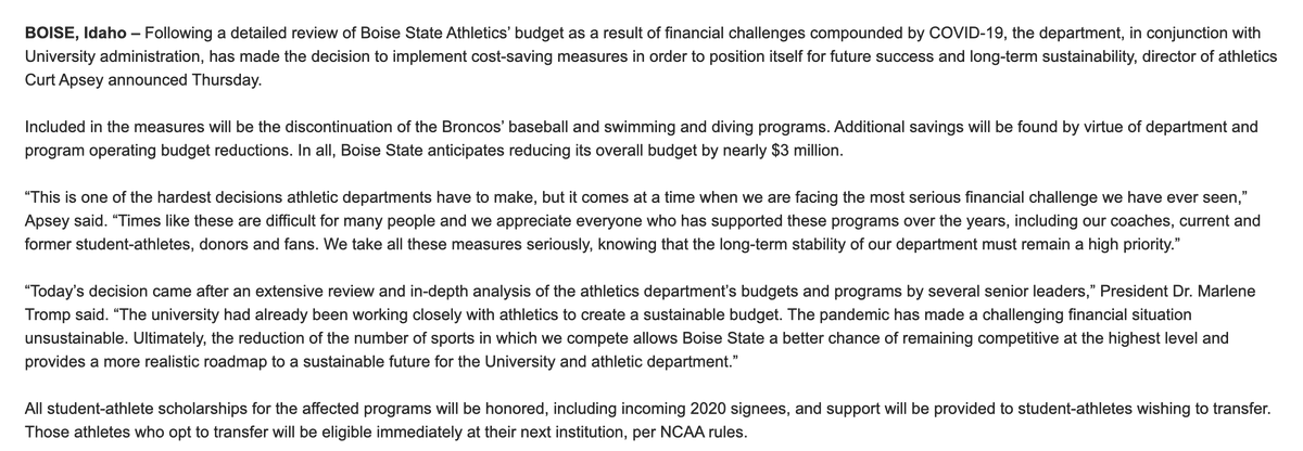 Boise State is cutting baseball and swimming/diving.