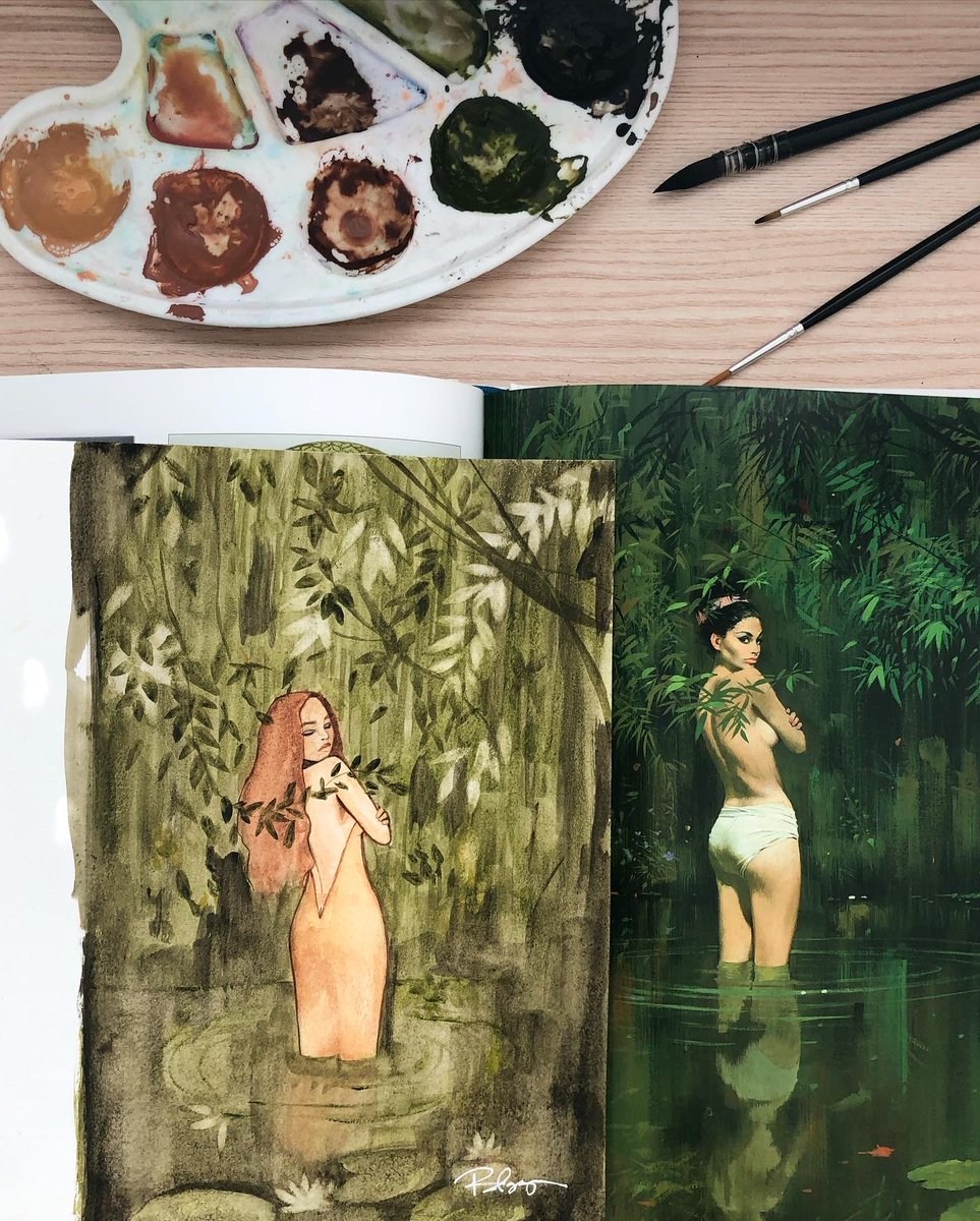 Painting inspired by the art of Robert E. McGinnis. Keeping in the Femme & Fauna theme - my favorite combo! 🌿✨ . #watercolor #painting #illustration #traditionalart #art #fauna #foliage #jungle #robertemcginnis https://t.co/Dy2rW8NruQ