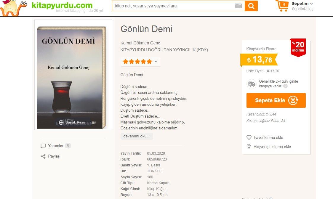 Gönlün Demi adlı şiir kitabım, https://t.co/fK9CUwEMms'da temmuz ayı boyunca %20 indirimli olarak satışa sunulmuştur.  Erişim için: https://t.co/X0bMDSvG5k https://t.co/qfhvBdMcIp