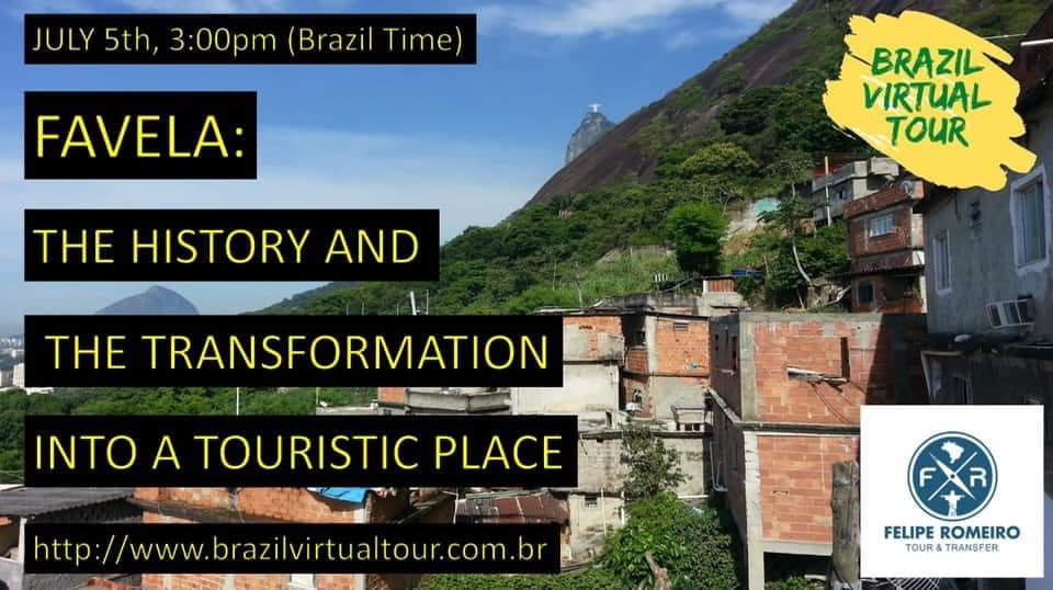 On July 5th, one of our amazing tour guides in #RiodeJaneiro, Felipe Romeiro, is taking us into a virtual tour of the favelas.  The tour will be online via Zoom, at 3.30 pm (Brazil time)  If you want to participate, please register on the link: https://bit.ly/2ZuI0m9 pic.twitter.com/wDPkwThuwr