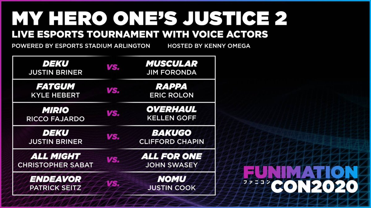 Pumped to take part in #FunimationCon tomorrow and call some of my favorite #BokuNoHeroAcademia fights in the PS4 fighting game, (My Hero One's Justice 2).The real English voice actors are repping their characters so there's a ton of pride on the line! funimationcon.com