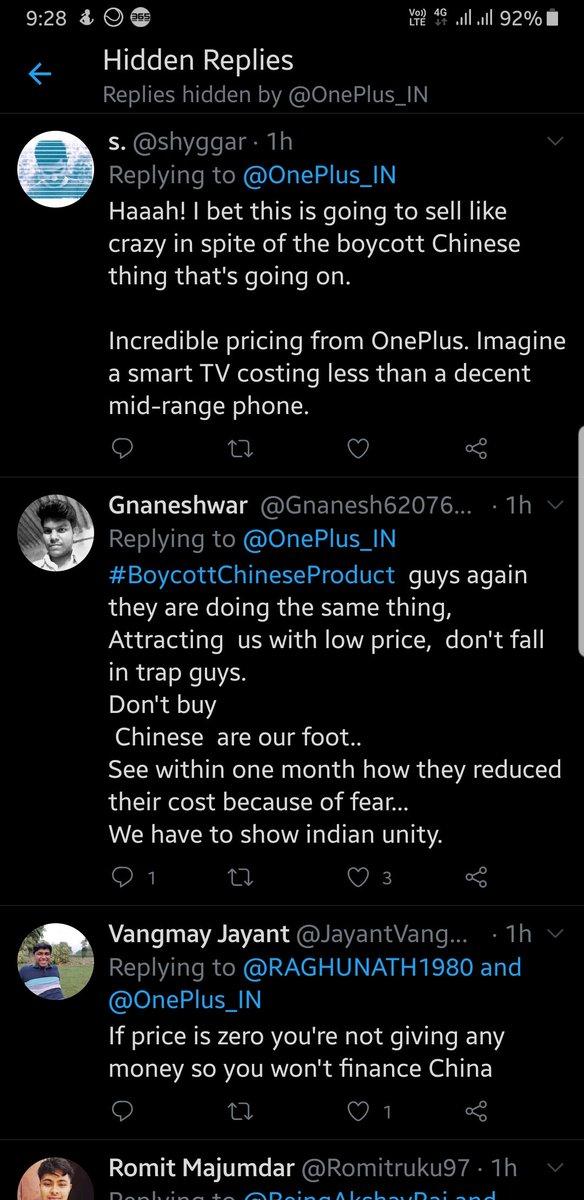 Tactics used by oneplus to not show boycott tweets..pic.twitter.com/EwsaZfKtKb