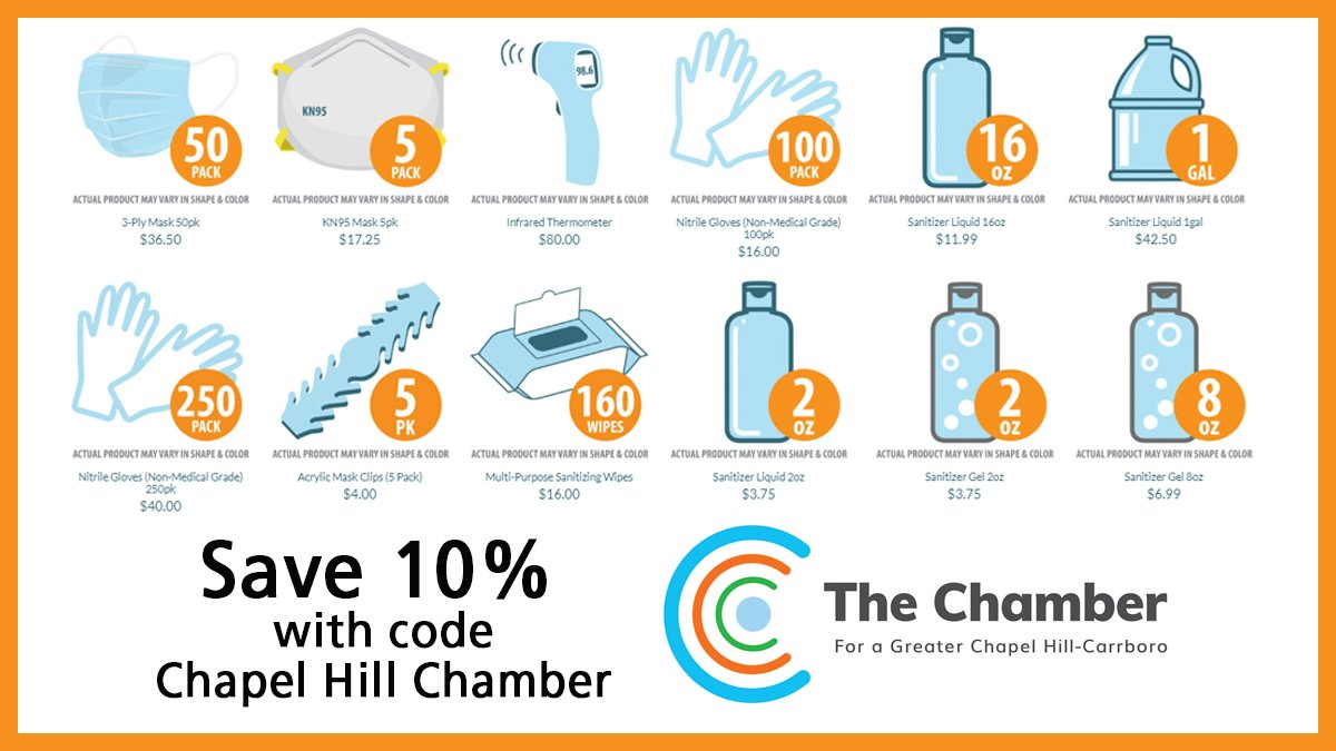 """Get the PPE products you need quickly when you order today at https://t.co/2GjdPvTb5n. Receive 10% off already low prices for masks, gloves, sanitizer, wipes and more when you use coupon code: """"Chapel Hill Chamber""""   @CarolinaChamber #SPONSORED https://t.co/uGIpEYO1Lw"""