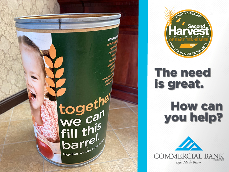 The need in our communities is great. Please join us in the fight against hunger by dropping off non-perishable food items at one of our branches in Claiborne, Cocke, Union, Hamblen, or Knox County, TN. #fooddrive #LifeMadeBetter https://t.co/rDJqhcxxaB