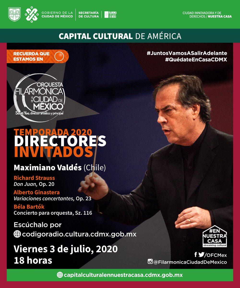 Con obras de Strauss, Ginastera y Bartók te espera tu @OFCMex en su temporada de directores invitados. Ingresa a https://t.co/m2NfAsA8tI  #LaFilarmónicaEnTuCasa  #Estamosensemáforonaranja #Nobajeslaguardia #JuntosVamosASalirAdelante https://t.co/R79Q5xVpny