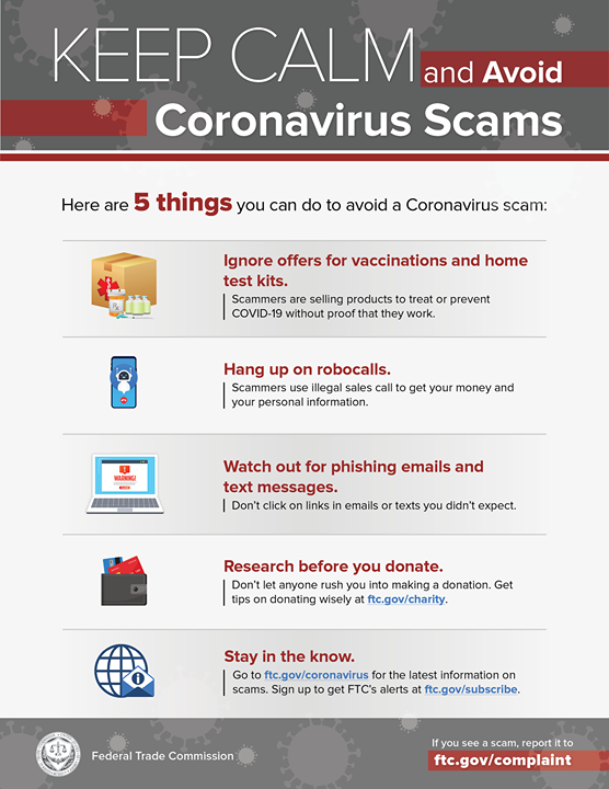 5 things you can do to avoid a #coronavirus scam: go.usa.gov/xwSjK #COVID19