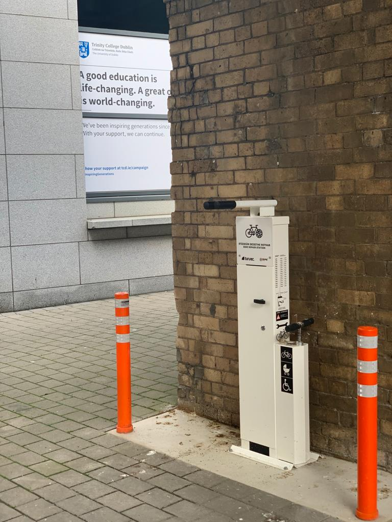 Estates and Facilities have installed two new repair stations for cyclists, buggies and wheelchairs. One is at the side of the Buttery and the other is by the Sports centre. A third is to be installed at Dartry. Cheers to E&F, we know this will be useful to many.