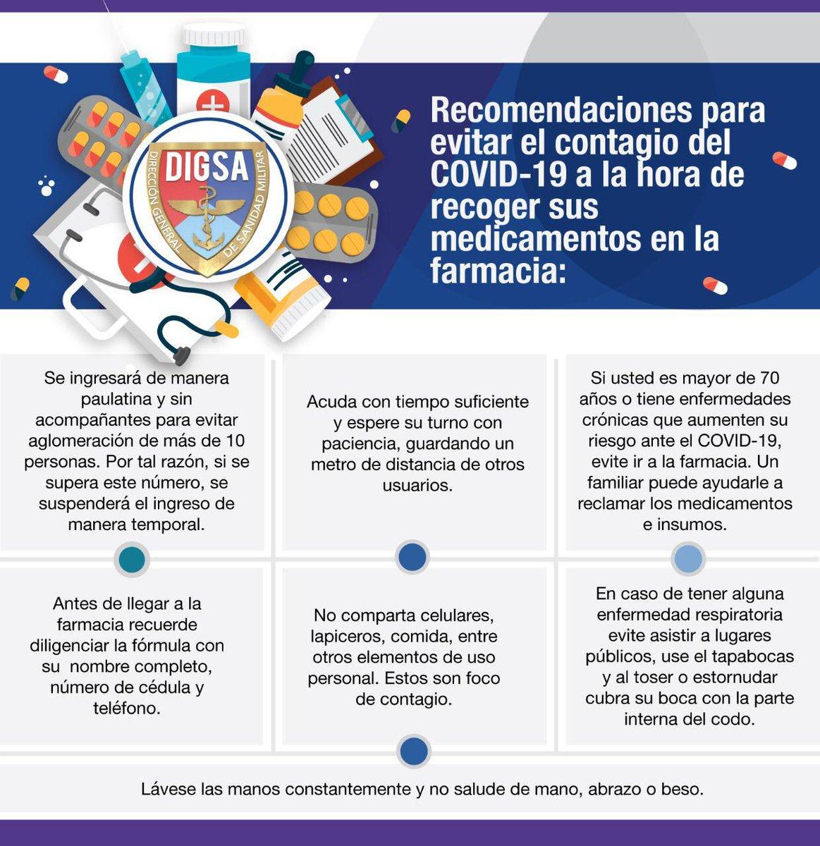 Señor usuario tenga en cuenta estas recomendaciones para evitar el contagio de #COVIDー19 al momento de recoger sus  medicamentos en la farmacia.  #ProtecciónYAcción #YoTeCuidoTúTeCuidas https://t.co/IY8HbVMjbr