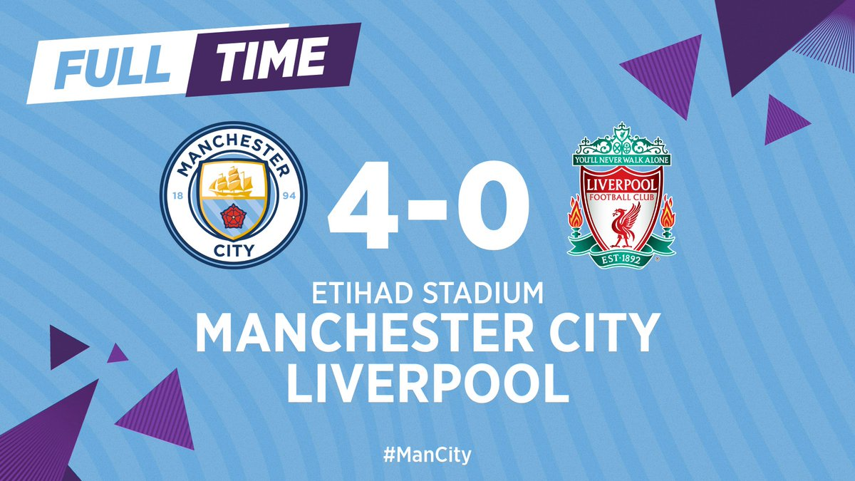FULL-TIME | And that's a wrap 👌  #ManCity 🔵 4-0 🔴 https://t.co/VqJ3voSoJ5