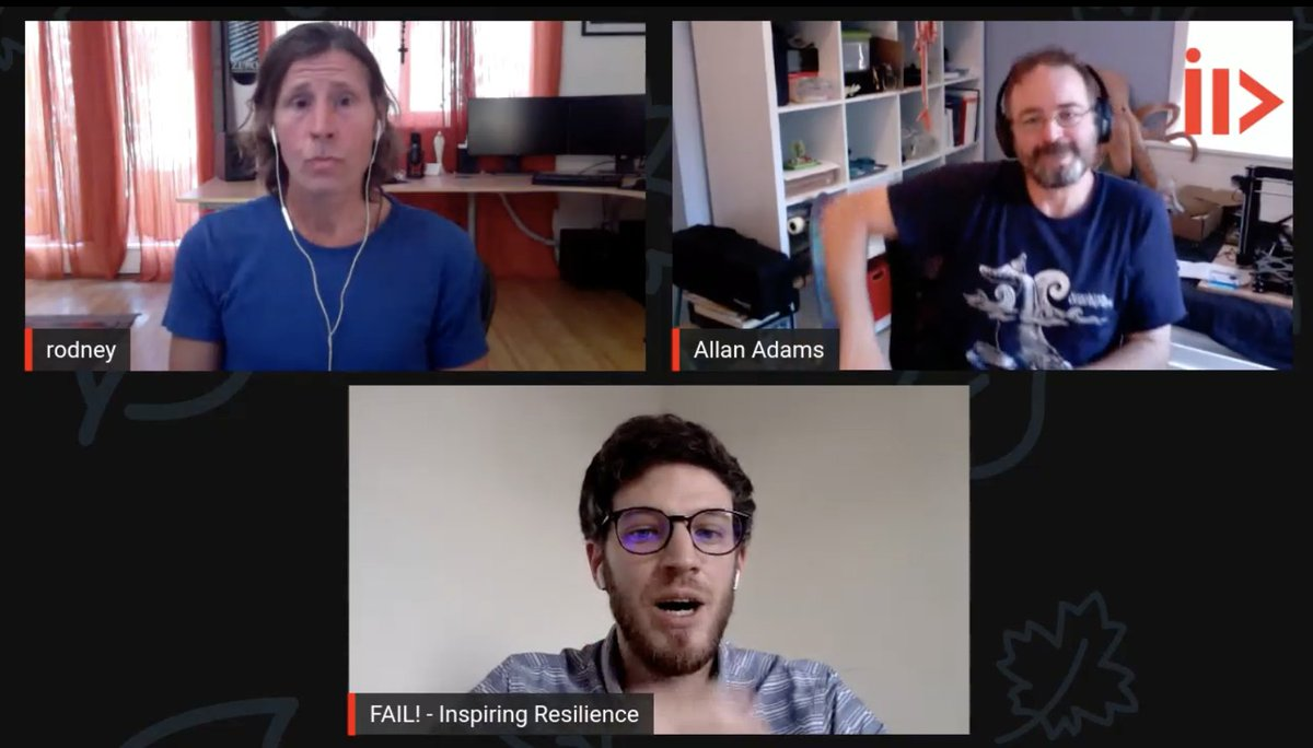 Happening now: a @failSharing #TogetherAtHome online event, with great guests @AllanAdamsYG and Rodney Mullen, speakers of previous #FAIL! events. Lots of inspirational stories about career changes and learning from failures. Live stream on http://fail-sharing.orgpic.twitter.com/YugpGaQkYo