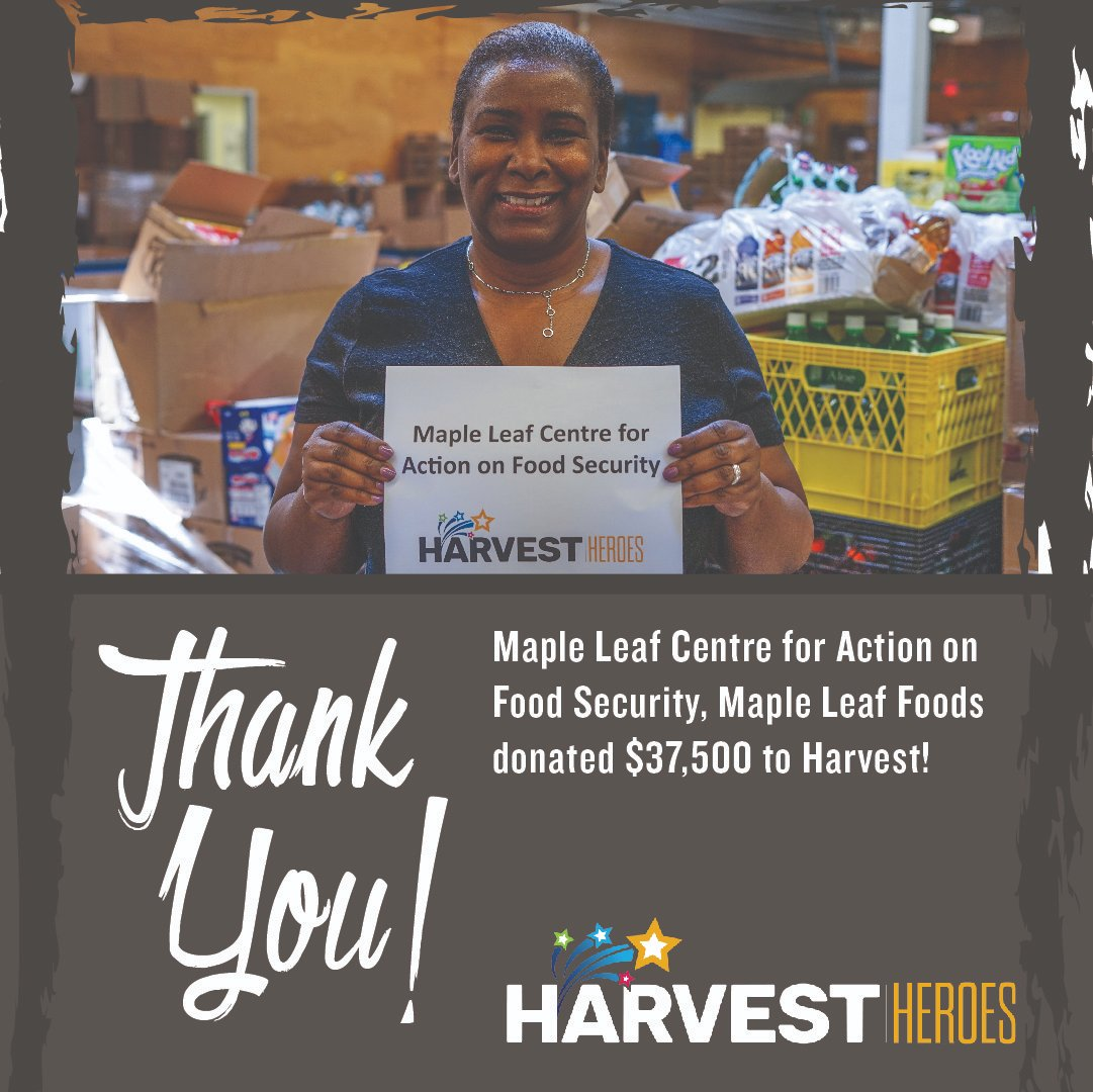 Thank you to the Maple Leaf Centre for Action on Food Security, @mapleleaf , for donating $37,500 to Harvest as a part of @foodbankscanada 's COVID-19 Response fund!  #ThankfulThursday https://t.co/dEibGo8JPs