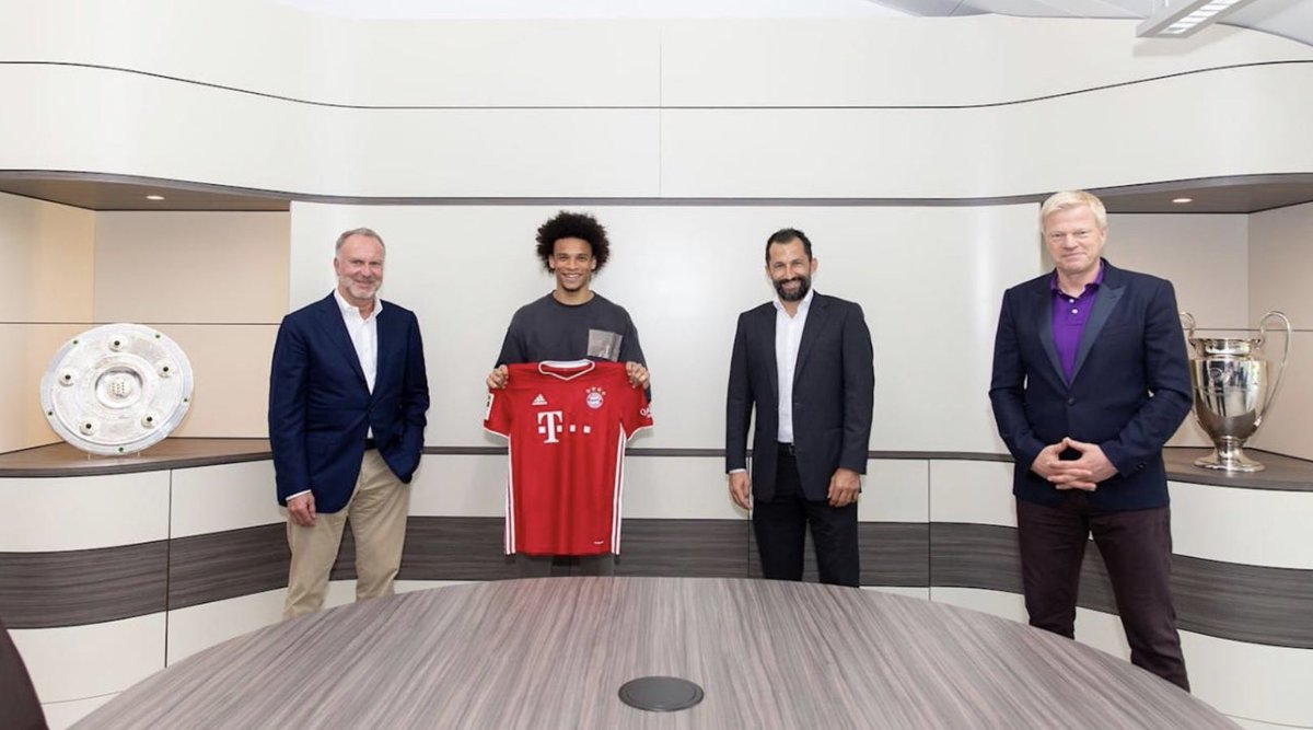Well, seems @LeroySane19 transfer to @FCBayernEN has been confirmed!  He is flanked by legends Karl Heinz Rummenigge and @OliverKahn   Welcome back to the @Bundesliga_EN ! https://t.co/noFwrCNwGV