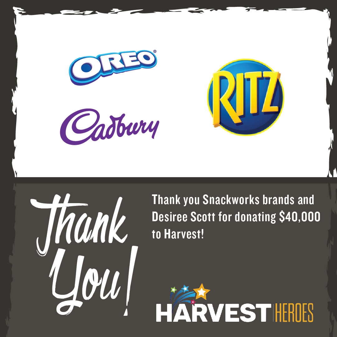Thank you to Snackworks Brands @OREO, @CADBURYCANADA & @RITZCRACKERS, proud Team Canada Sponsors and Olympian @msdscott for donating $40,000 to Harvest - and feeding hope in Canada.    #ThankfulThursday https://t.co/k8yszydmF2