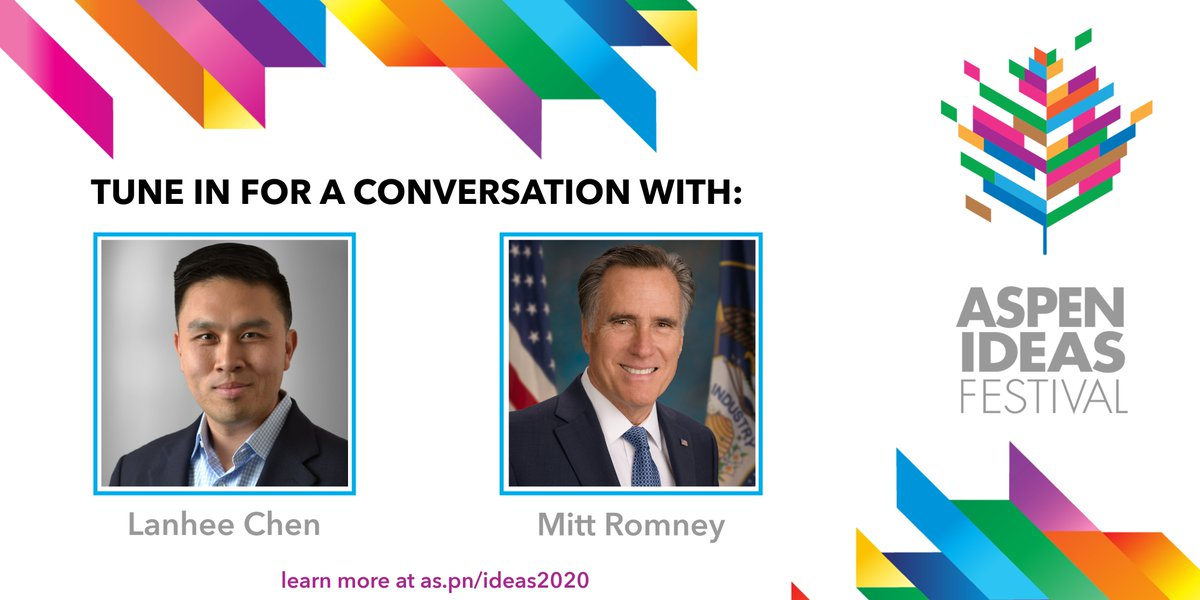 Tonight is the final night of the 2020 #AspenIdeas Festival! @MittRomney and @lanheechen speak on the US-China relationship starting at 7:00 PM ET: https://t.co/WcaXBxF4XL https://t.co/fg4JwPqyAW