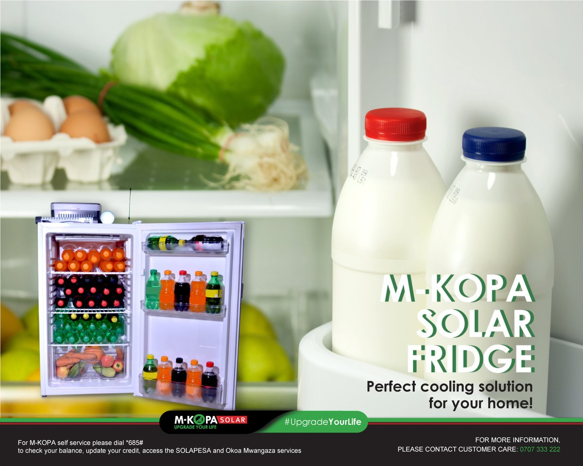 Why wait to transform your home when you can get the M-KOPA 1OOL SOLAR Fridge in easy instalments? It is an affordable cooling solution, therefore, your food stays fresh for longer. See how you can get it here: https://t.co/Wrkp606tBx #UpgradeYourLife #FreshAnywhereUnderTheSun https://t.co/QijDyVP2Bl