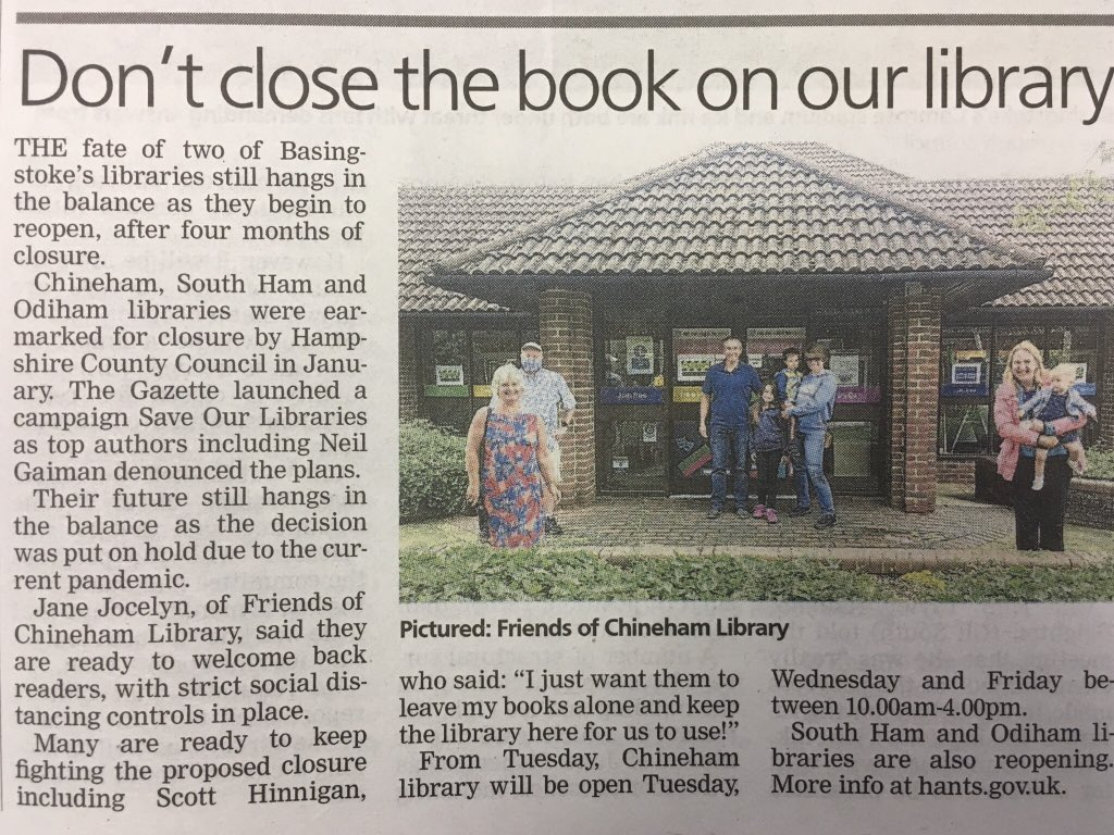 Friends of Chineham Library (@FriendsChineham) on Twitter photo 03/07/2020 12:53:49