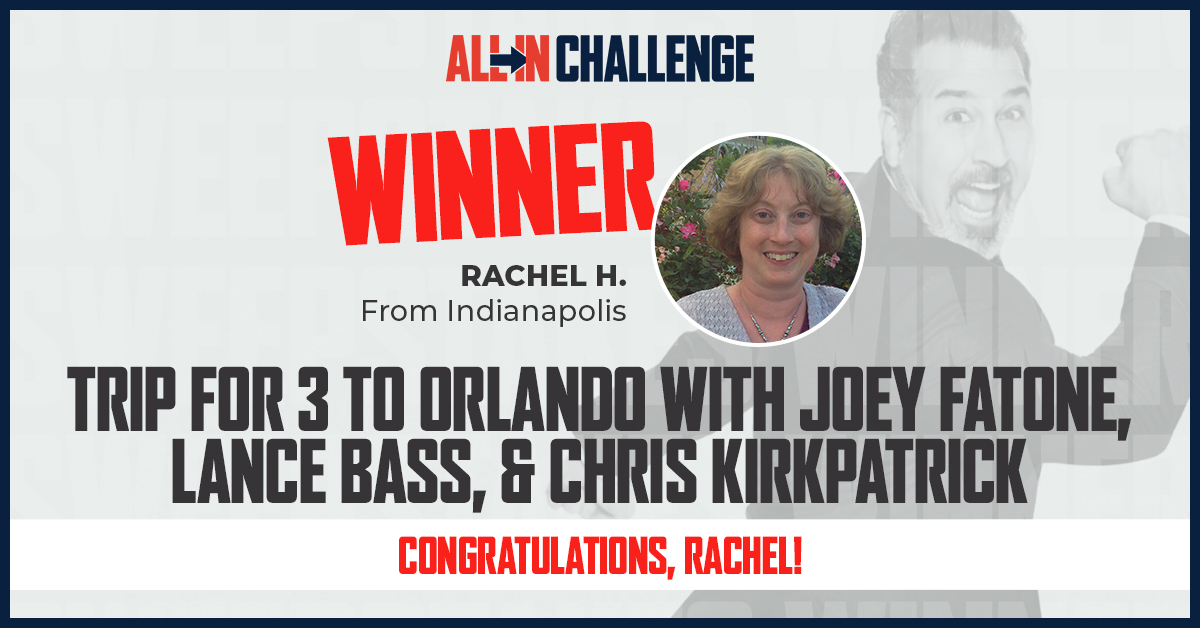 Congratulations @rhooves04! We hope that you are excited for your trip to Orlando with @realjoeyfatone, @lancebass and @iamckirkpatrick! We appreciate you going ALL IN and supporting the fight against food insecurity. #ALLInChallenge https://t.co/5uxFwqxTrO