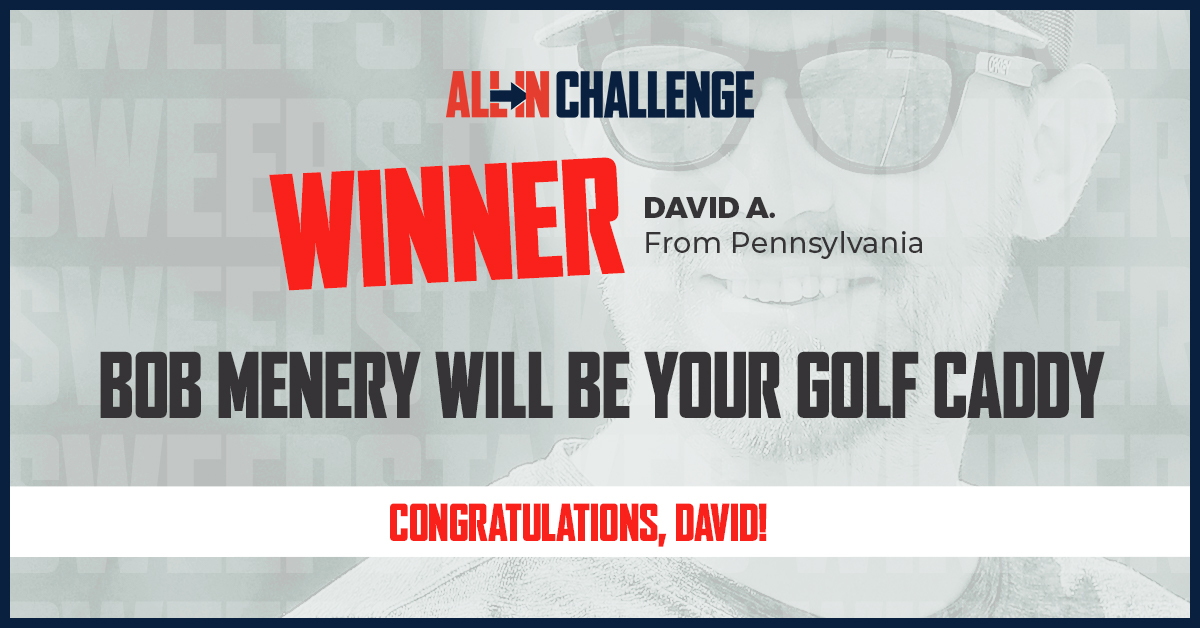 Congratulations David A.! We hope that you are looking forward to playing some golf with @BobMenery as your caddy! We appreciate you going ALL IN and supporting the fight against food insecurity. #ALLInChallenge https://t.co/qUKhOP5TFq